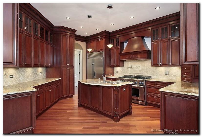Dark Red Cherry Kitchen Cabinets