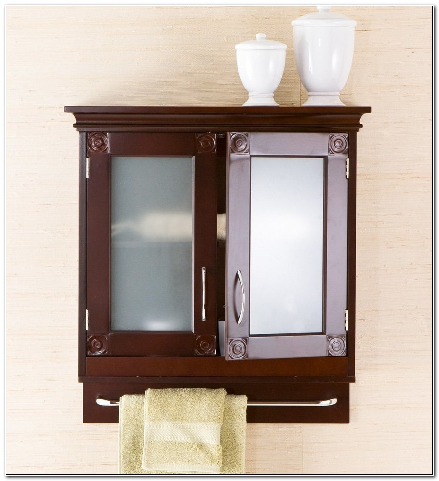 Dark Wood Bathroom Wall Cabinets