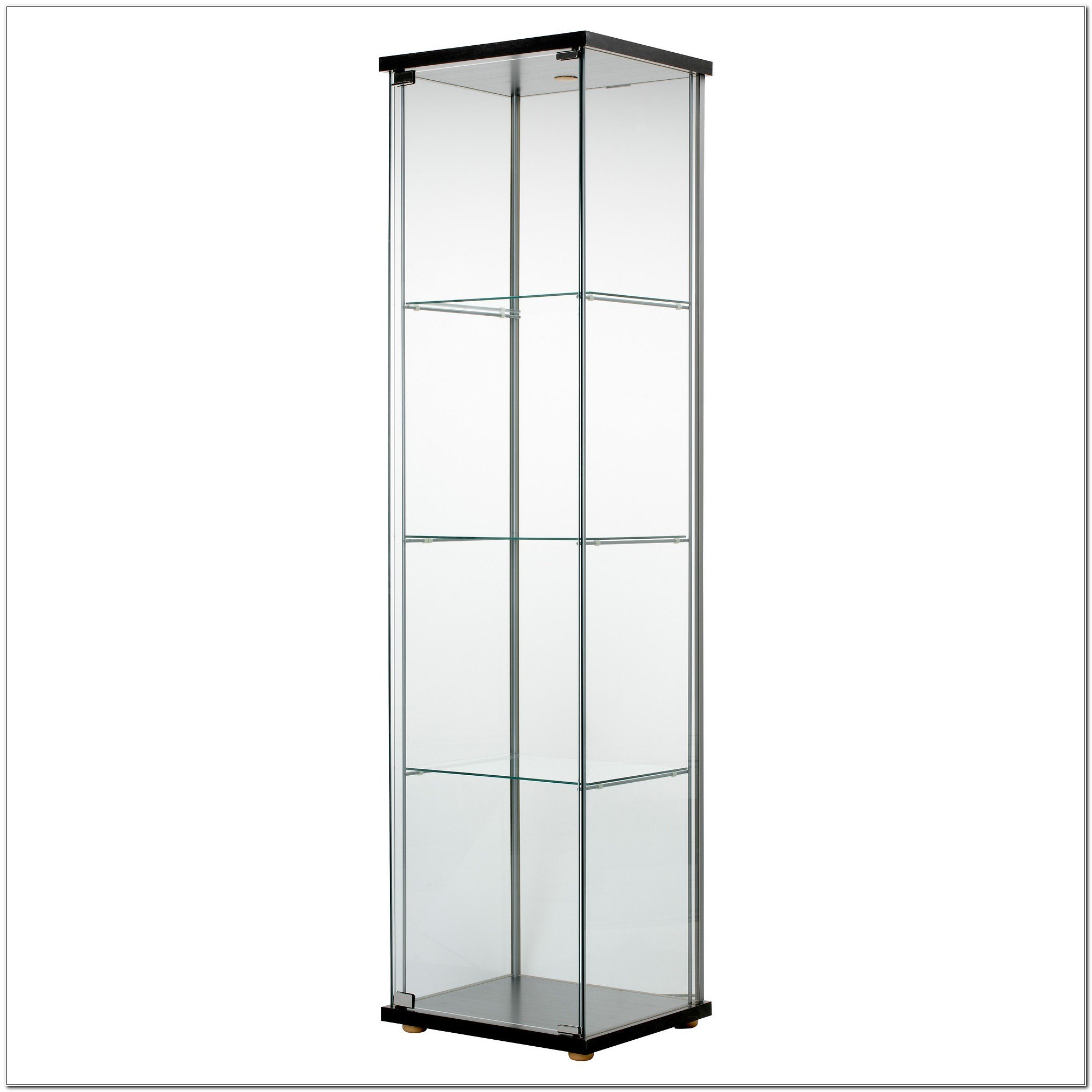 Detolf Glass Curio Display Cabinet Black
