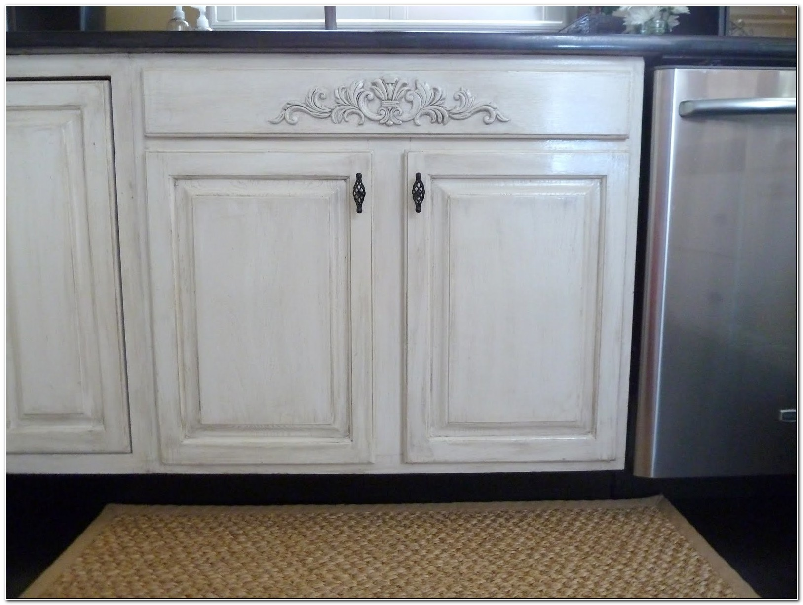 Distressed White Kitchen Cabinets Diy