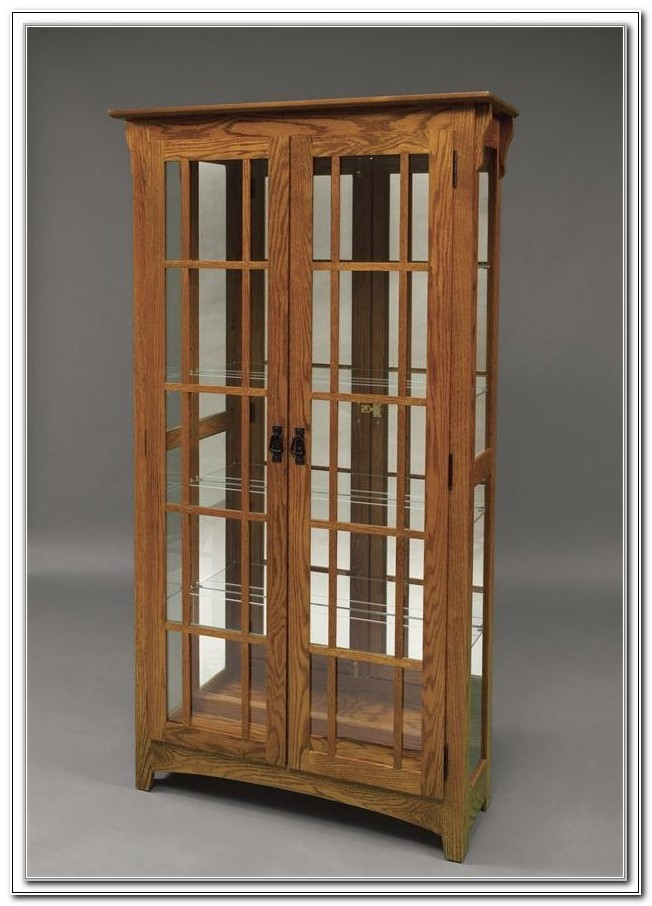 Double Glass Door Curio Cabinet