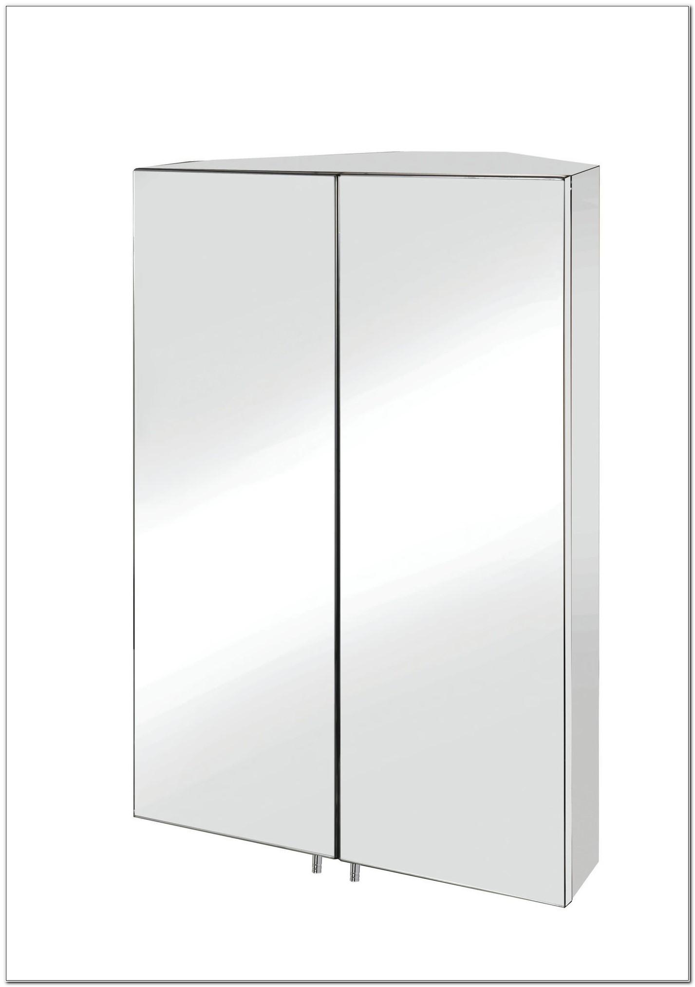 Double Mirrored Corner Bathroom Cabinet