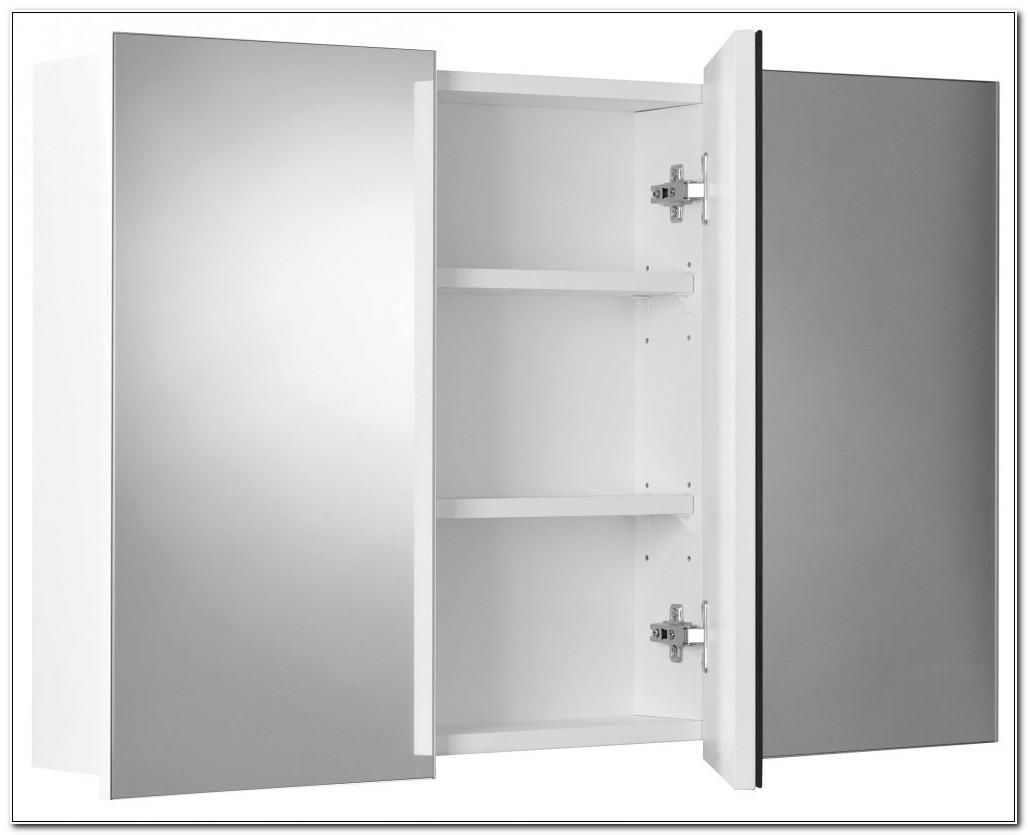 Double Swivel Mirror Door Bathroom Cabinet White