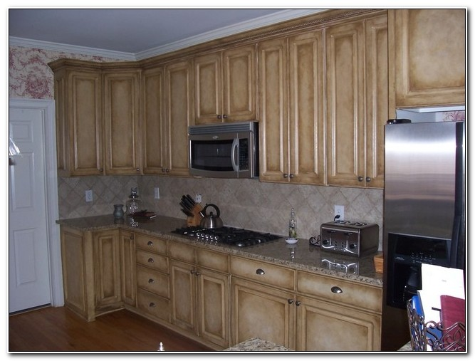 Faux Painted Kitchen Cabinets