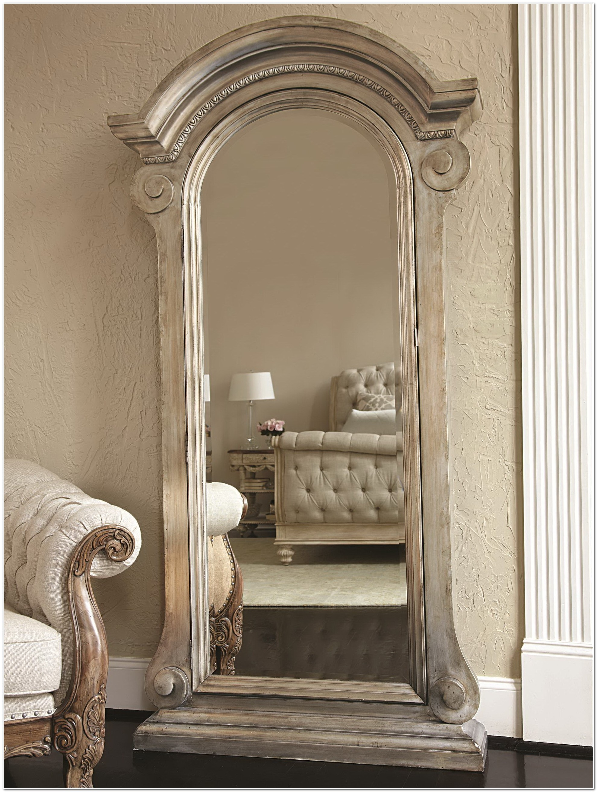 Floor Standing Jewelry Armoire With Mirror