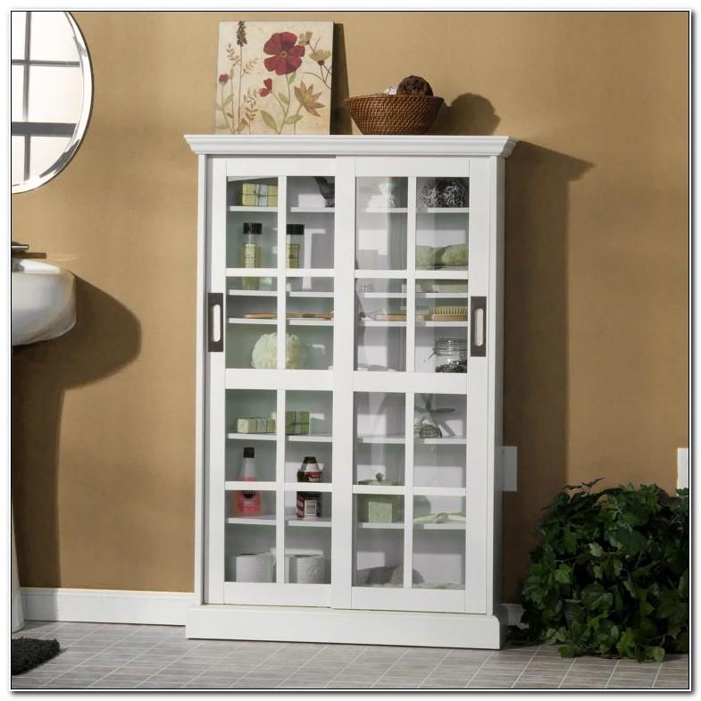 Floor Storage Cabinet With Glass Doors