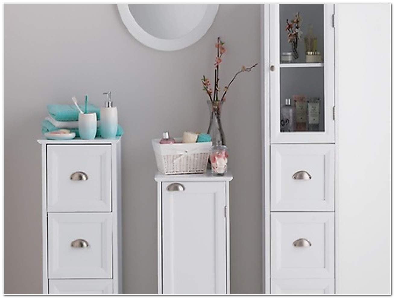 Free Standing Bathroom Storage Tower Cabinet