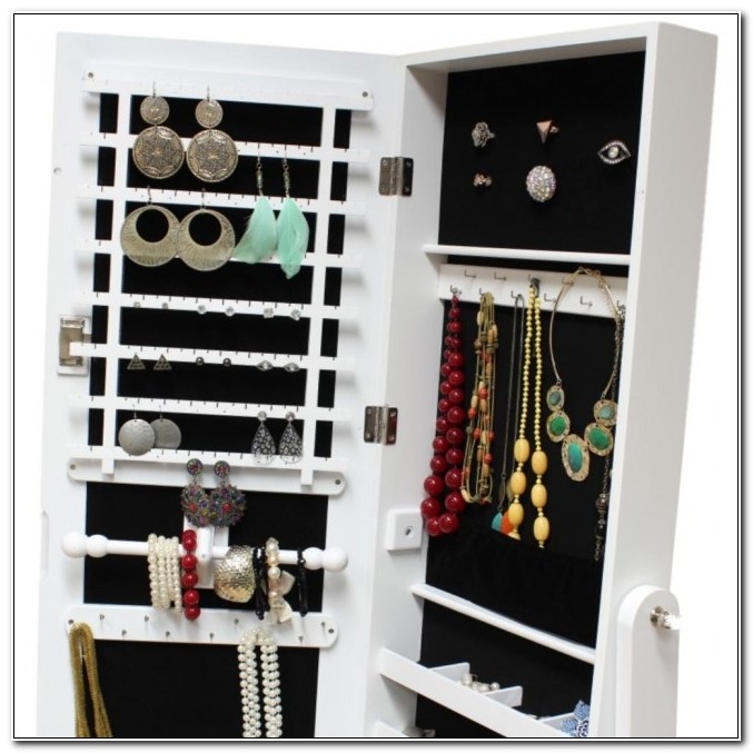 Free Standing Jewellery Cabinet Mirror