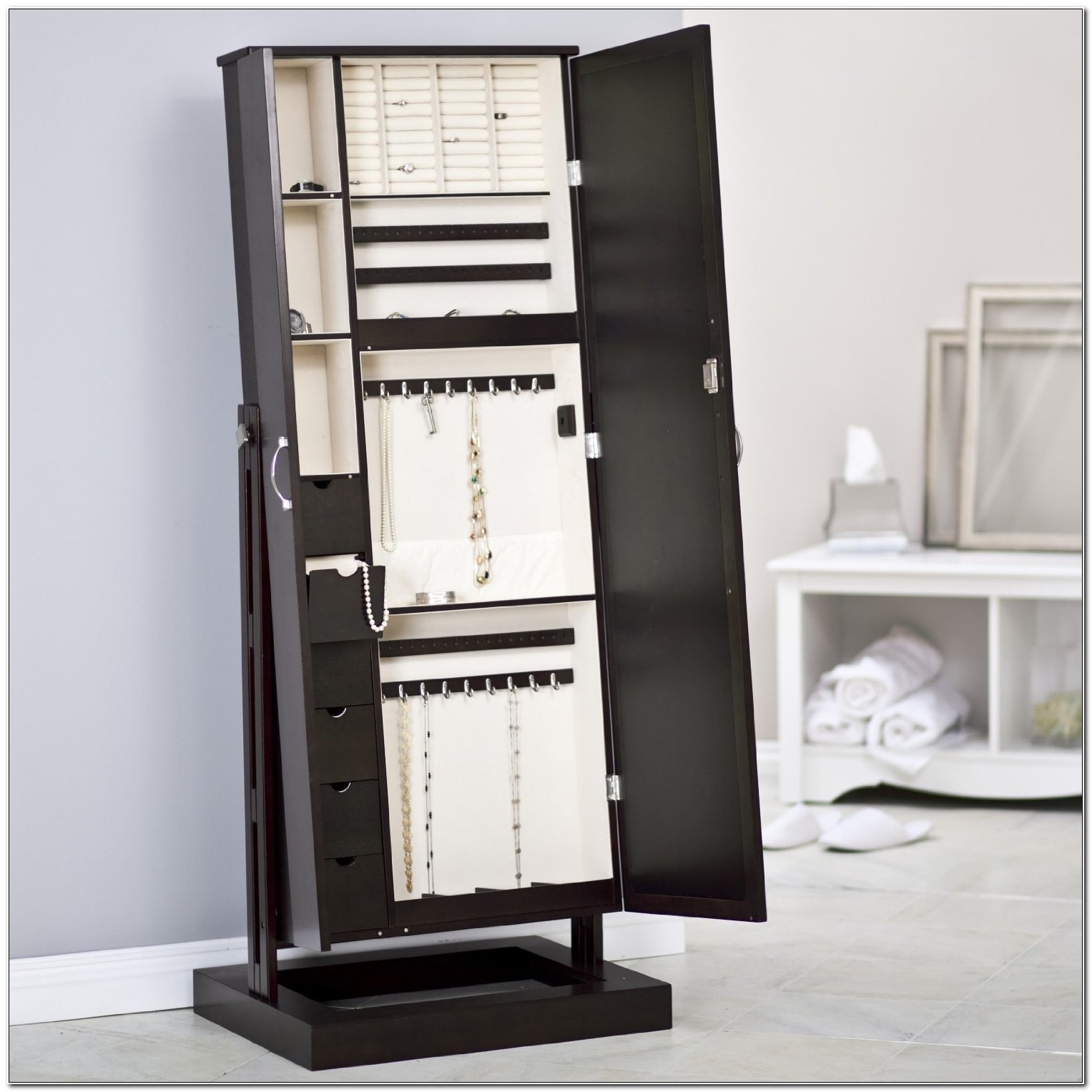 Free Standing Jewelry Armoire With Mirror Uk