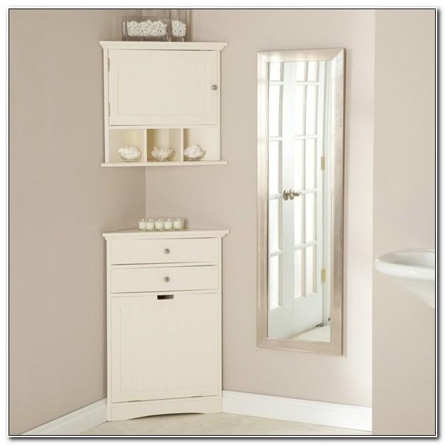 Free Standing White Corner Bathroom Cabinet