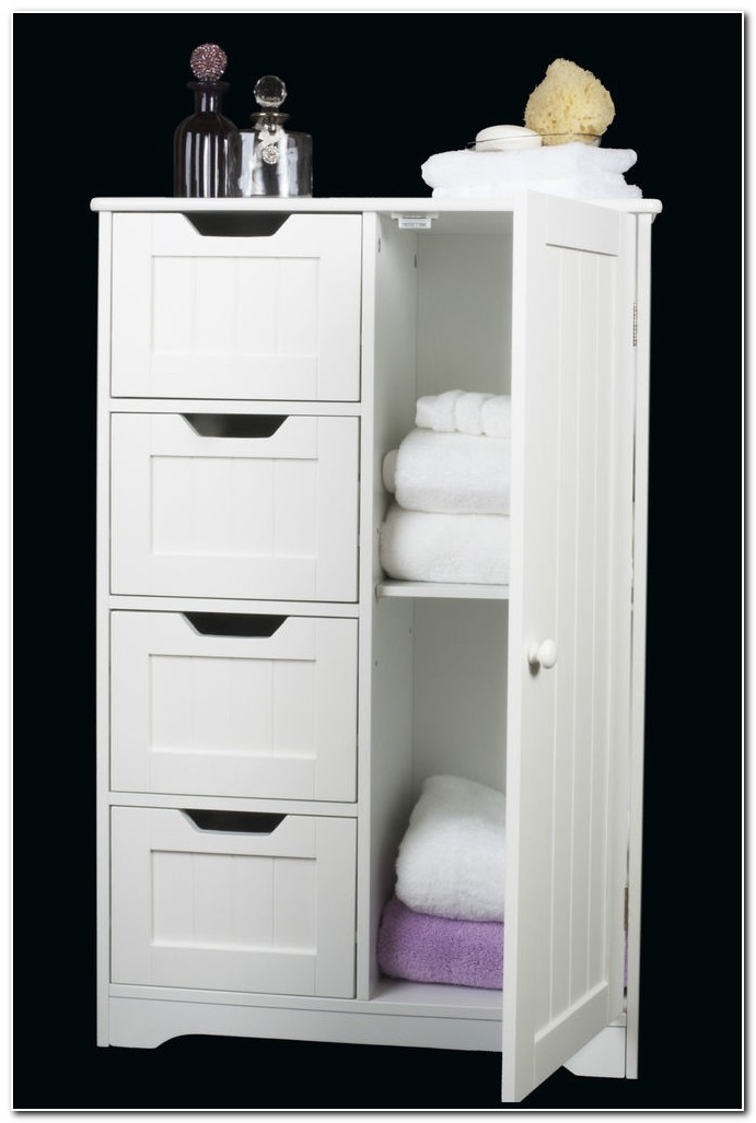 Free Standing White Wood Bathroom Cabinets