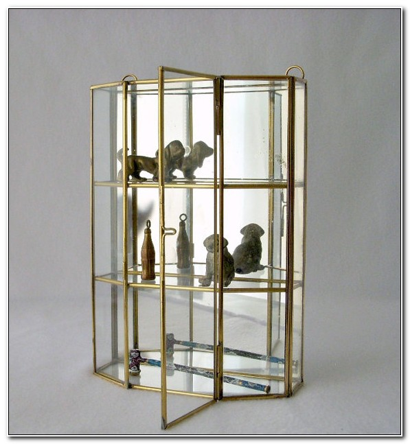 Glass And Brass Wall Curio Cabinet