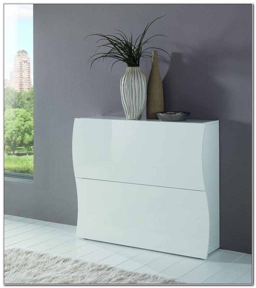 Glossy White Shoe Cabinet