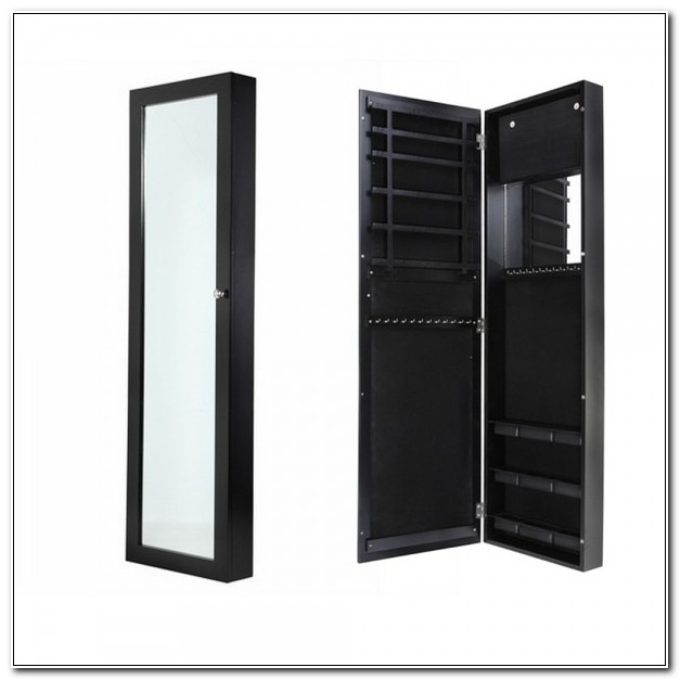 Homegear Wall Mounted Mirrored Jewelry Cabinet Black