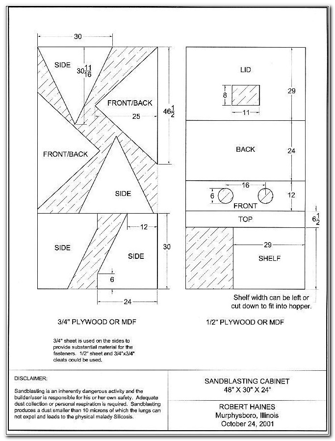 Homemade Sandblasting Cabinet Blueprints
