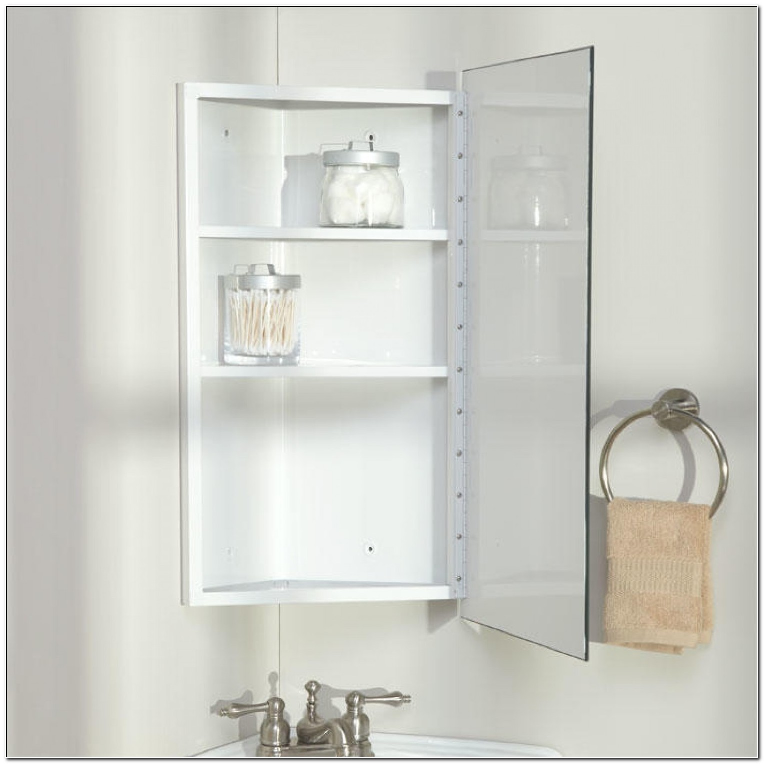 Large Stainless Steel Corner Bathroom Cabinet