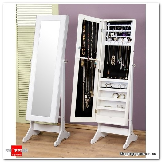 Large Wooden Mirrored Jewellery Storage Cabinet