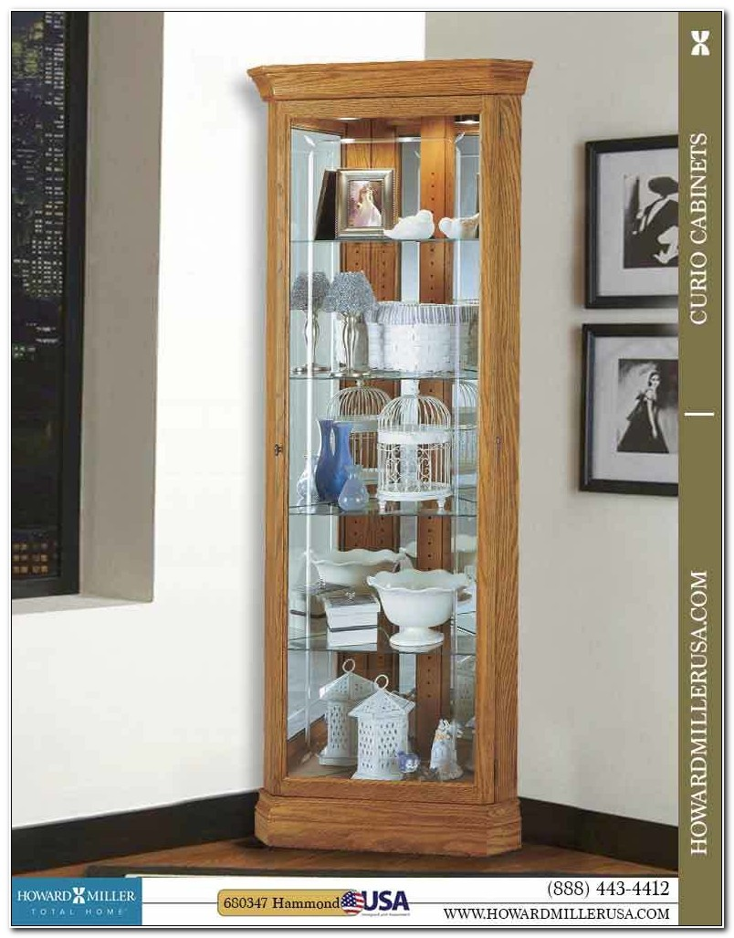 Light Oak Corner Curio Cabinets