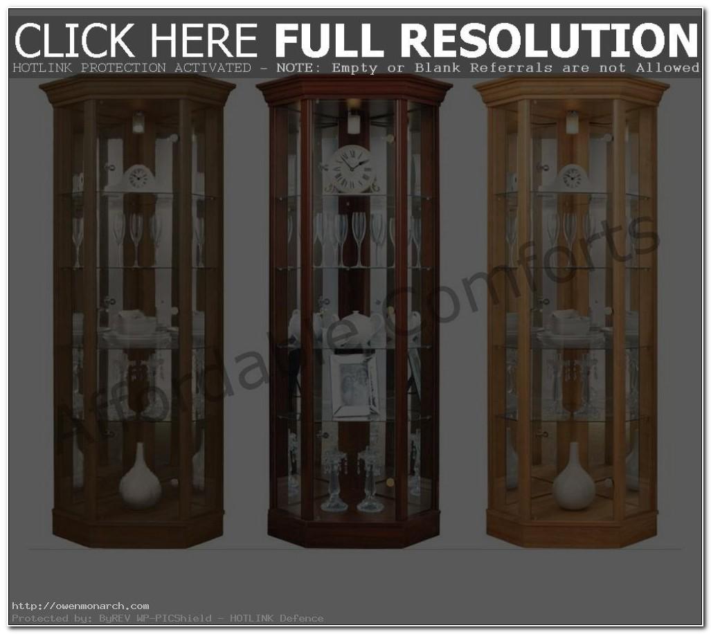 Light Oak Corner Display Cabinet With Pelmet