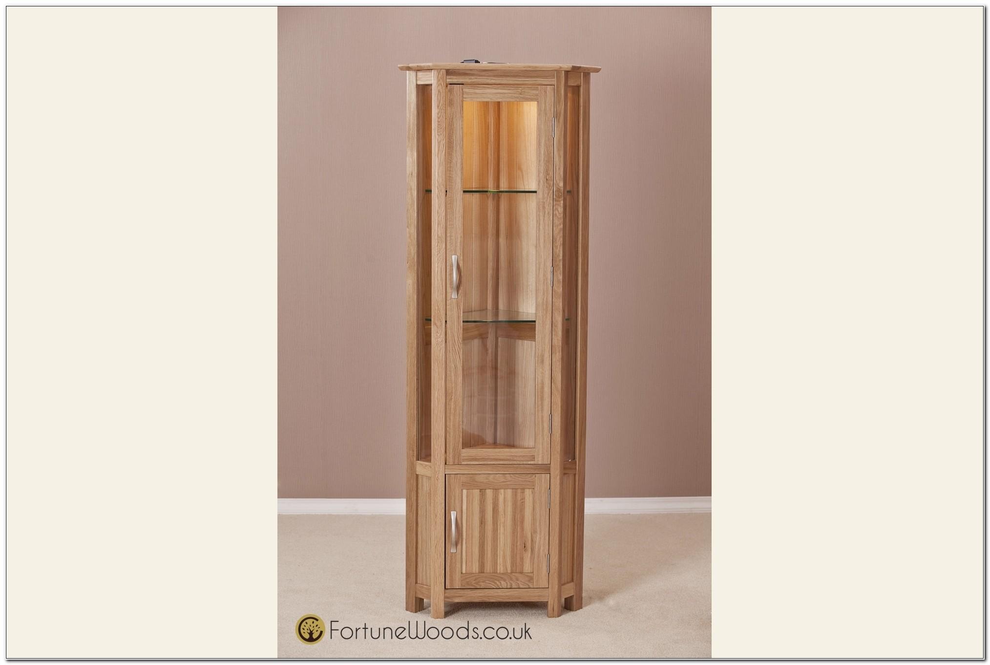 Light Oak Corner Display Cabinet