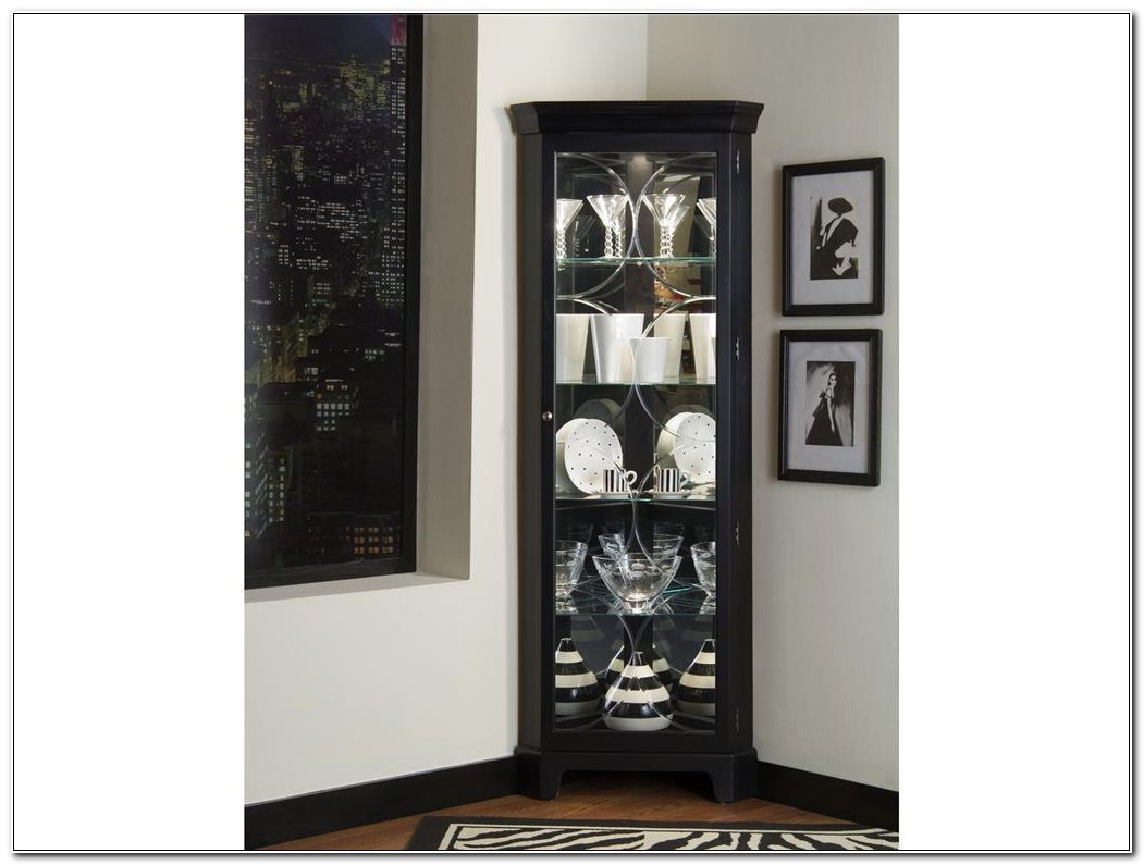 Lighted Corner Curio Cabinet Black