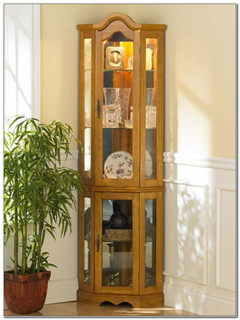 Lighted Curio Corner Cabinet