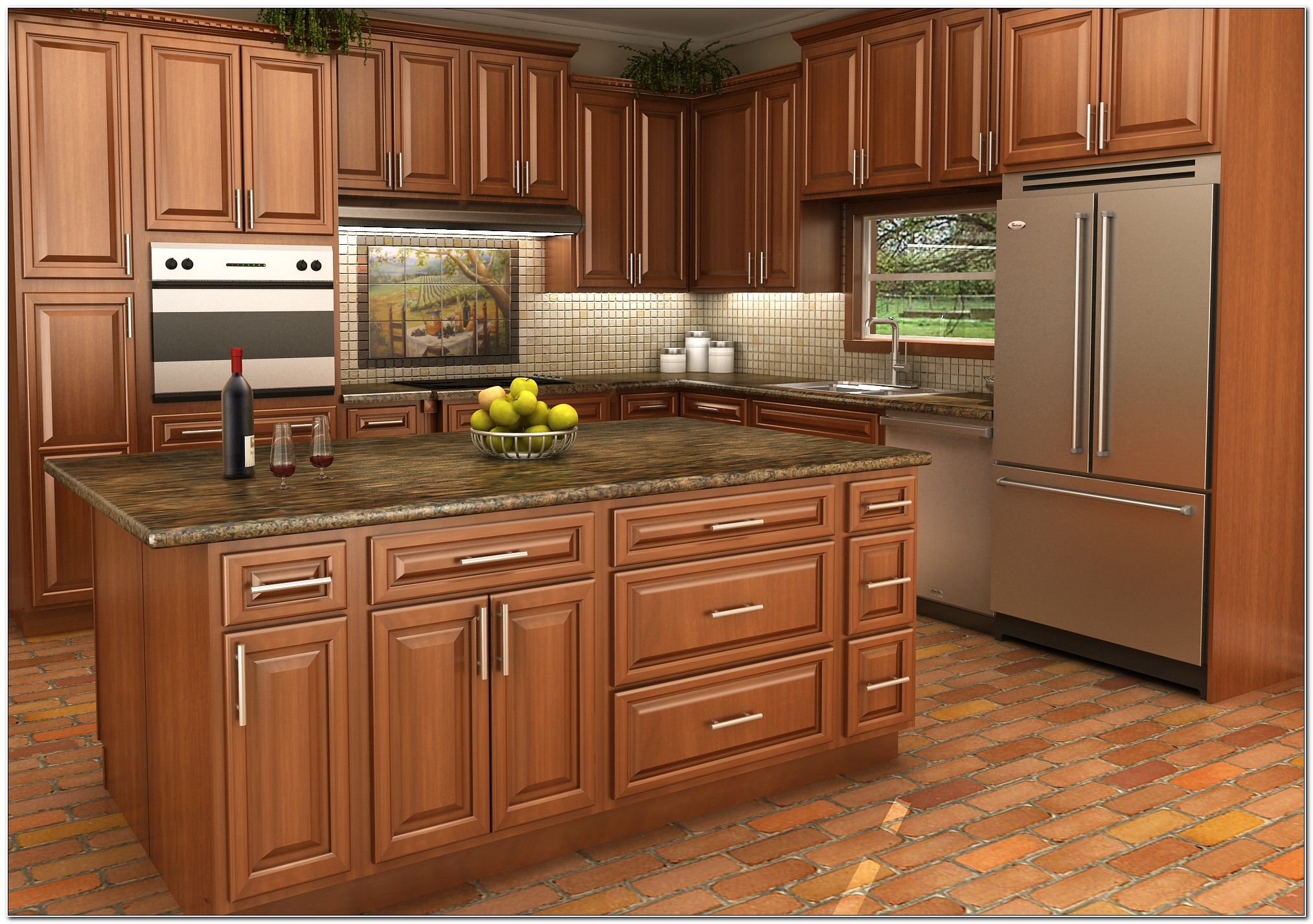 Maple Finish Kitchen Cabinets