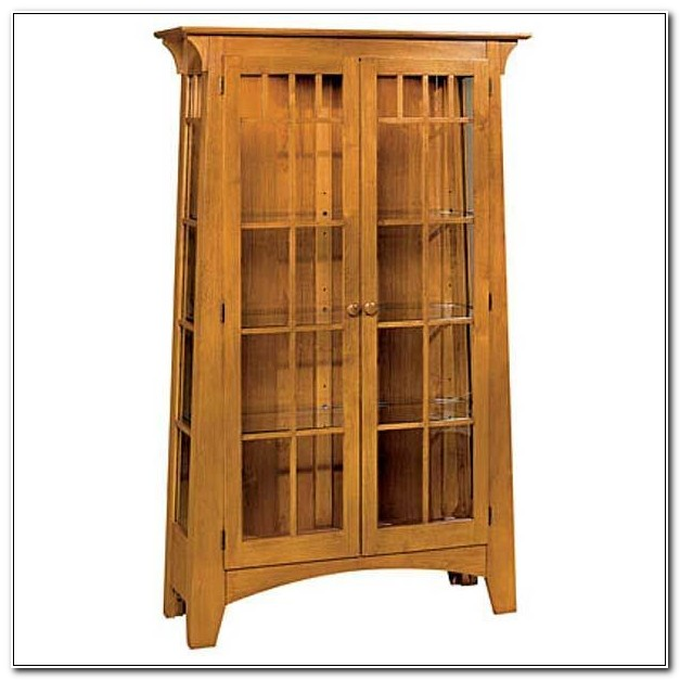 Mission Style Console Curio Cabinet