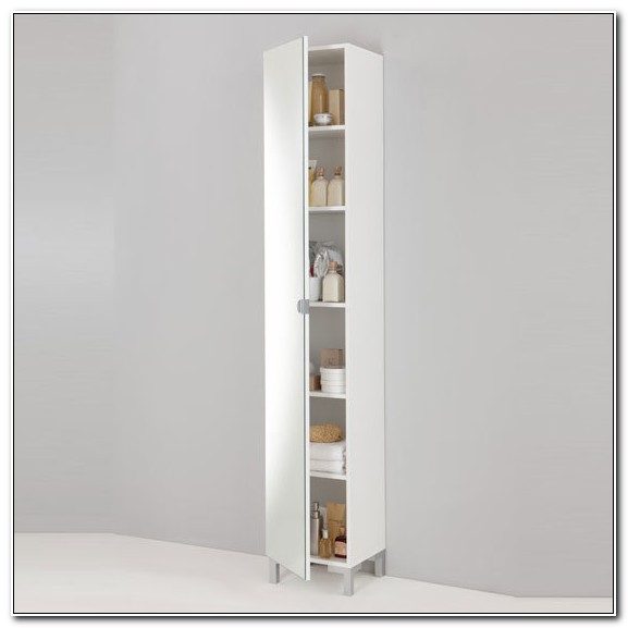 Modern White Floor Standing Tall Bathroom Cabinet