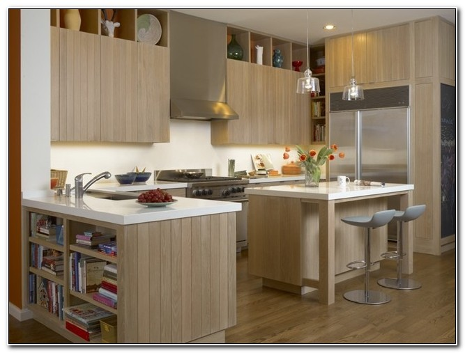 Modern White Oak Kitchen Cabinets