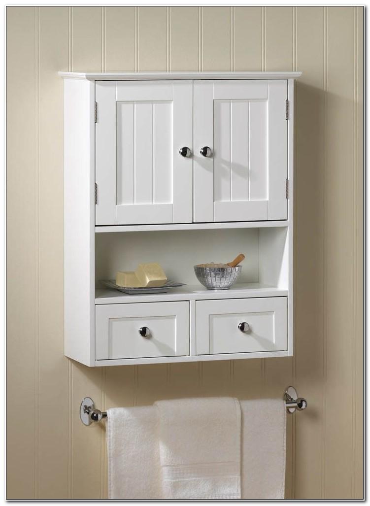 Narrow White Bathroom Wall Cabinet