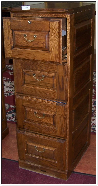 Oak 4 Drawer Filing Cabinet