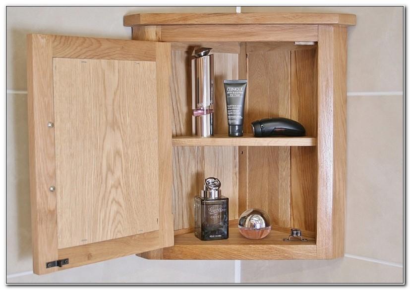 Oak Corner Bathroom Wall Cabinet