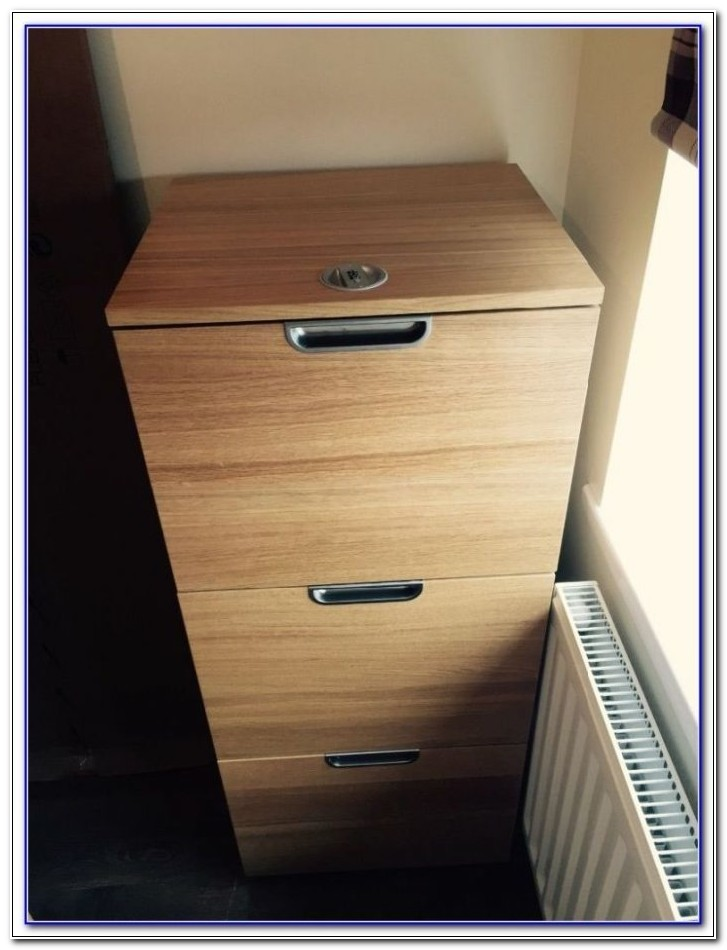 Oak Effect 3 Drawer Filing Cabinet