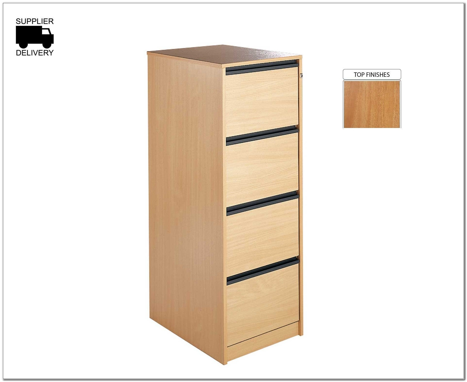 Oak Effect 4 Drawer Filing Cabinet