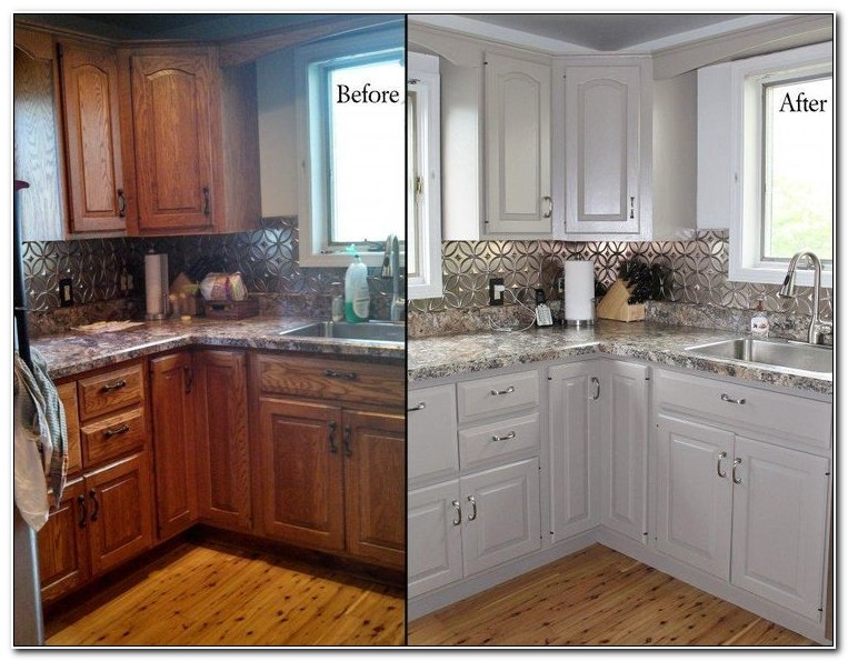 Oak Kitchen Cabinets Painted Before And After