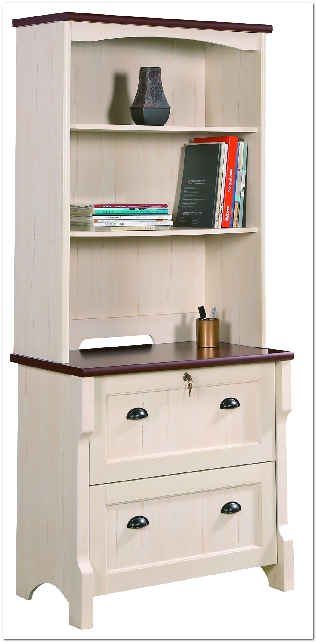 Oak Lateral File Cabinet With Hutch