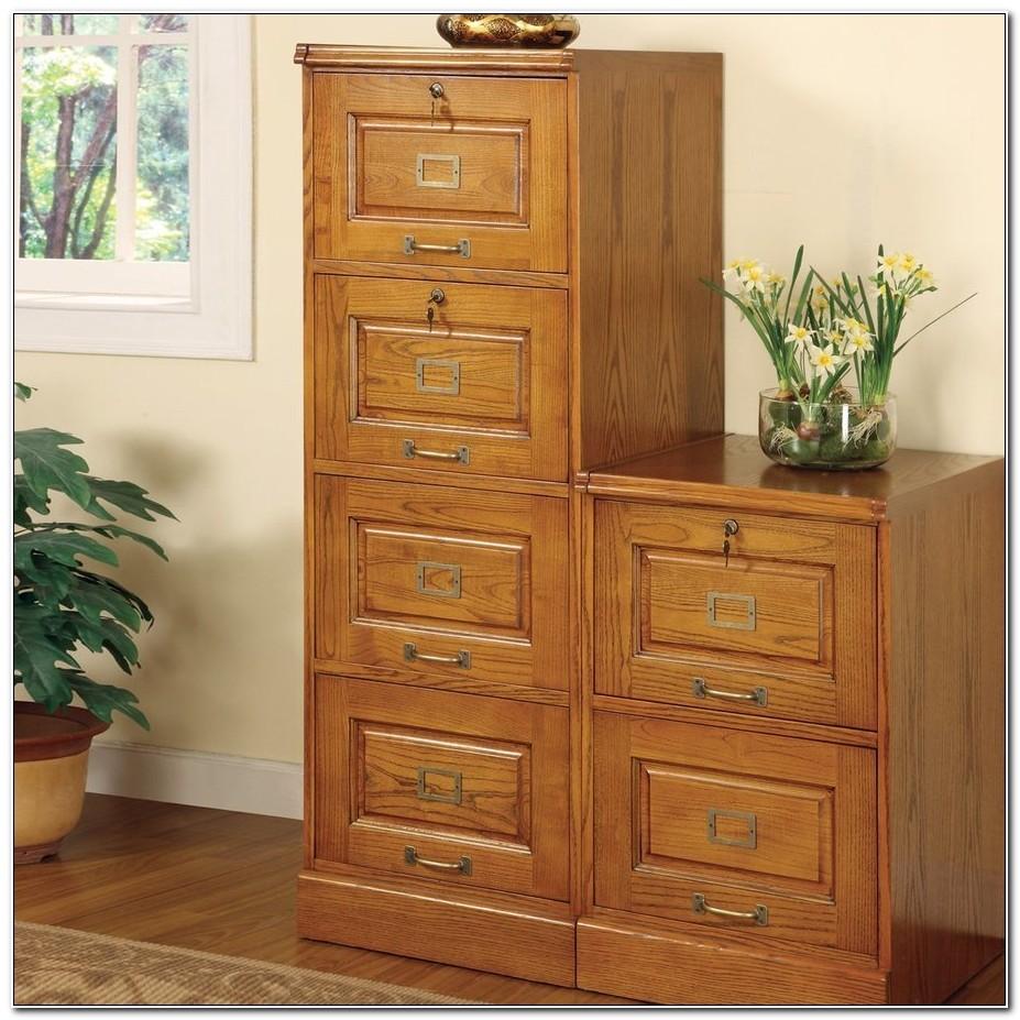 Oak Veneer 4 Drawer Filing Cabinet