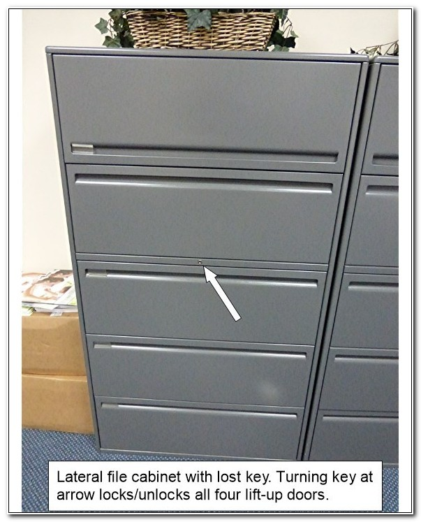Open Locked Lateral File Cabinet