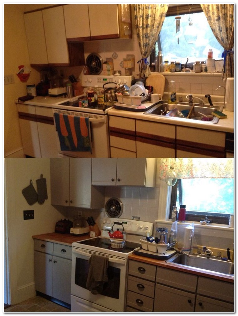 Painting Laminate Kitchen Cabinets Before And After