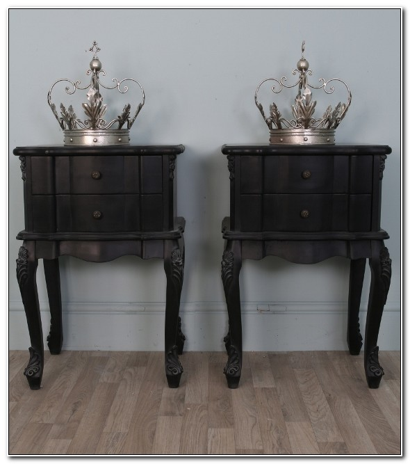 Pair Of Black Bedside Cabinets