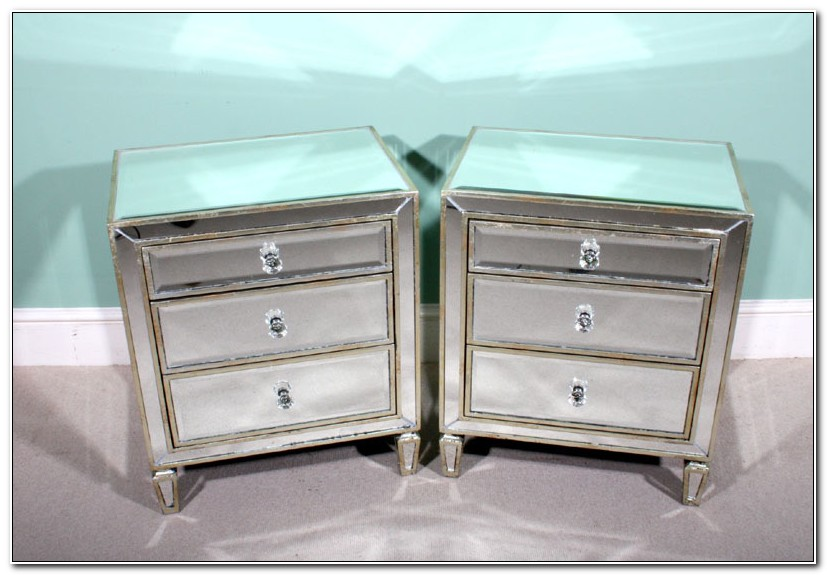 Pair Of Mirrored Bedside Cabinets