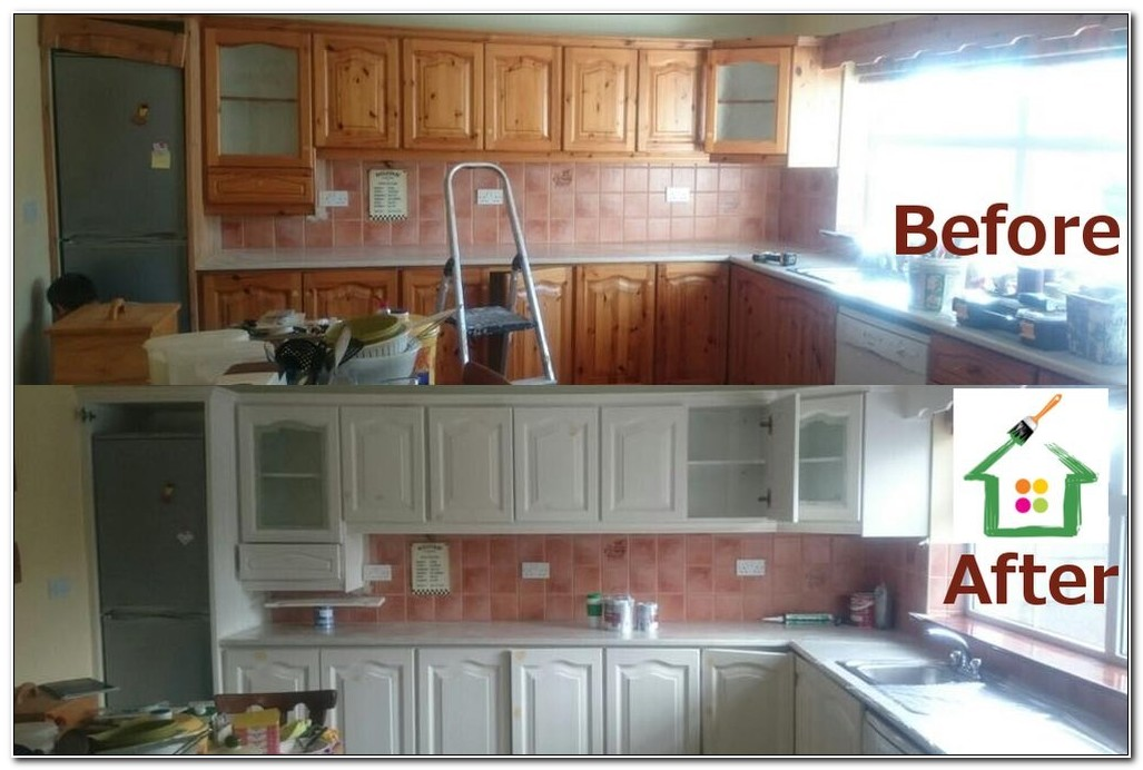 Professionally Painted Kitchen Cabinets Before And After