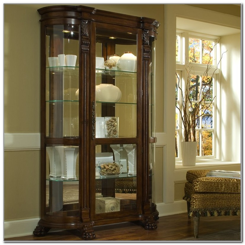 Pulaski Pecan Curio Display Cabinet