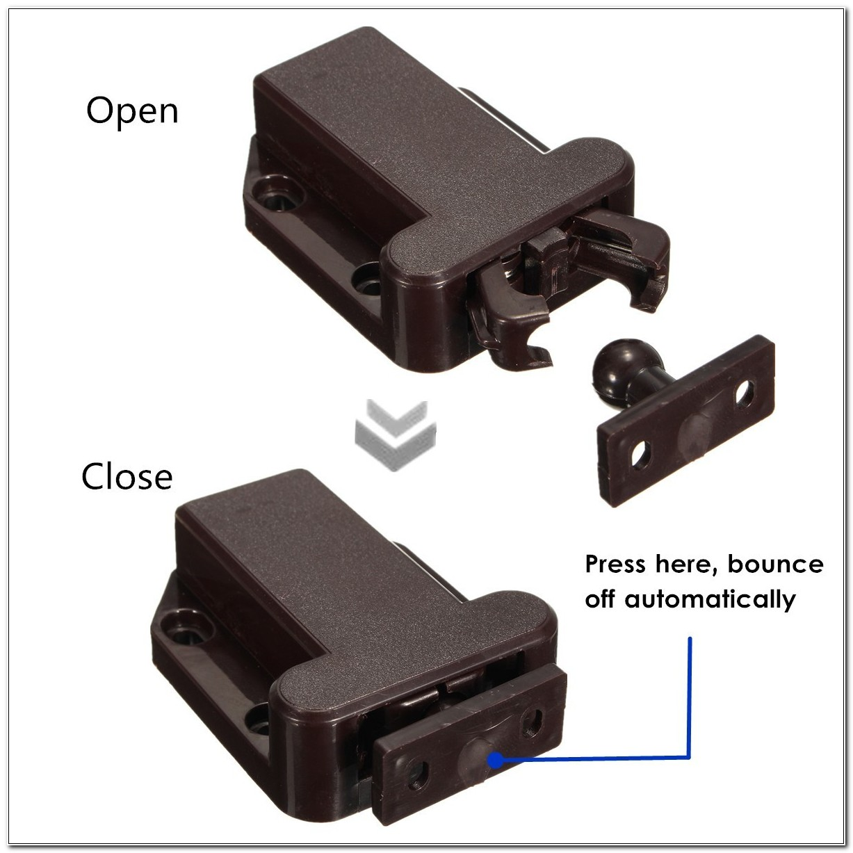 Push Release Cabinet Door Latch