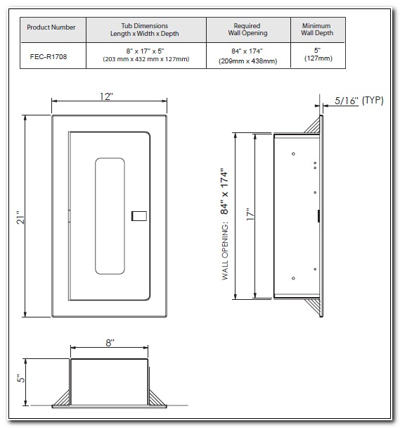 Recessed Fire Extinguisher Cabinets Dimensions