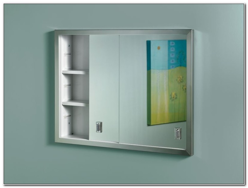Recessed Medicine Cabinet With Sliding Mirror Doors