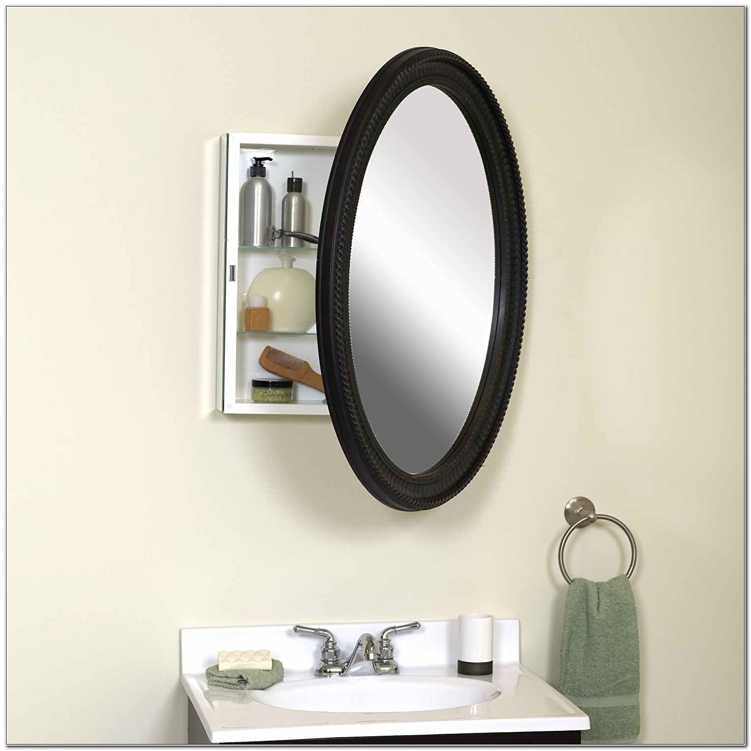 Recessed Oval Bathroom Medicine Cabinet