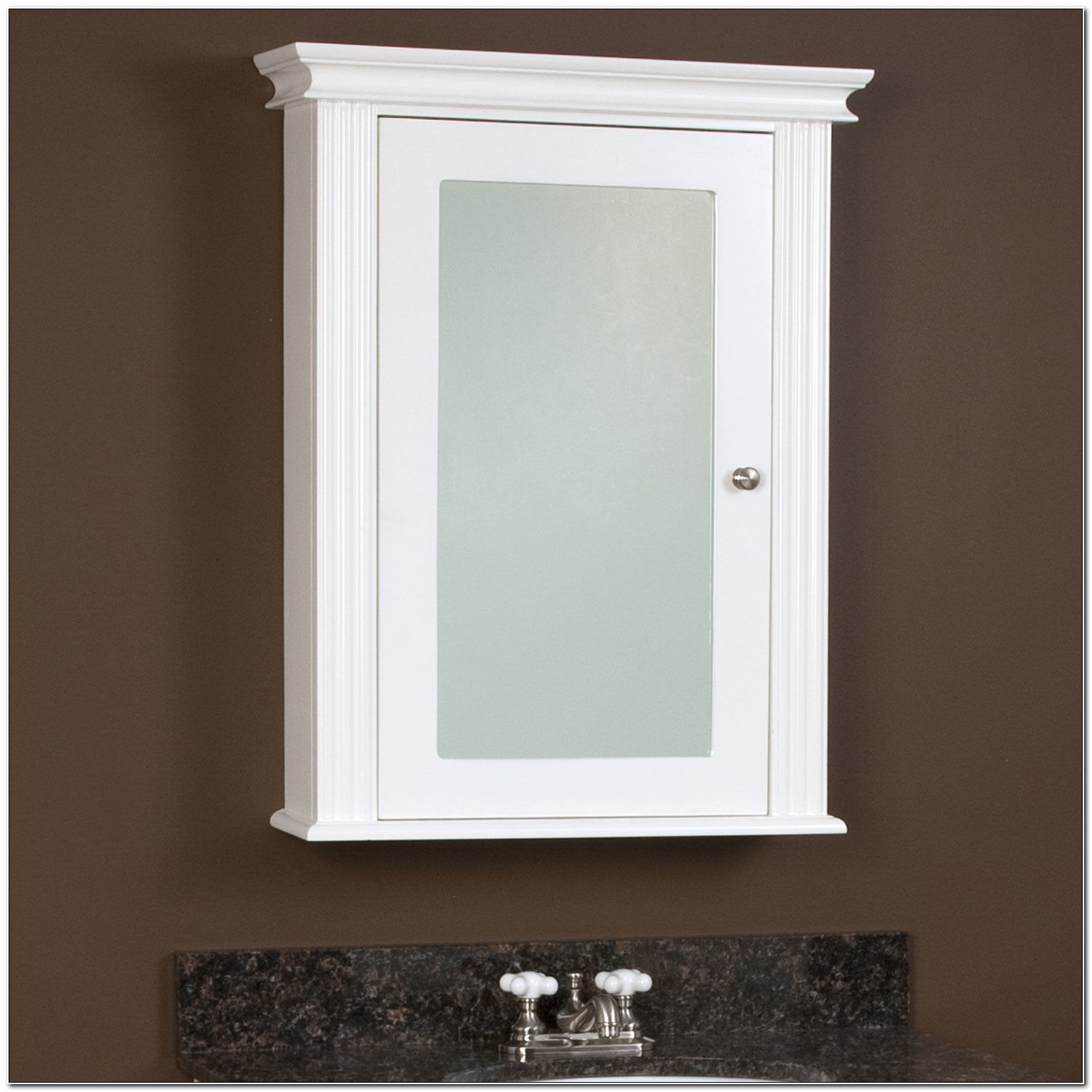 Recessed White Wood Framed Medicine Cabinets