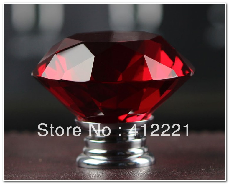 Red Crystal Knobs For Cabinets
